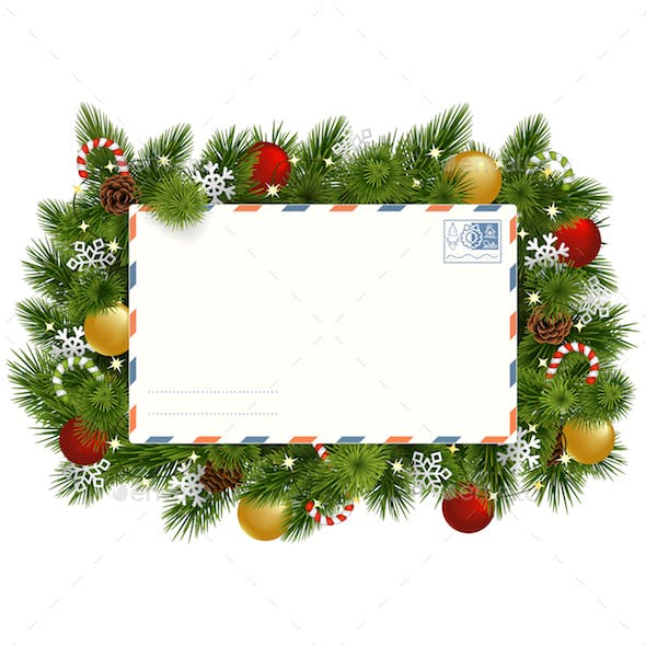 Vector Christmas Fir Branches with Postcard