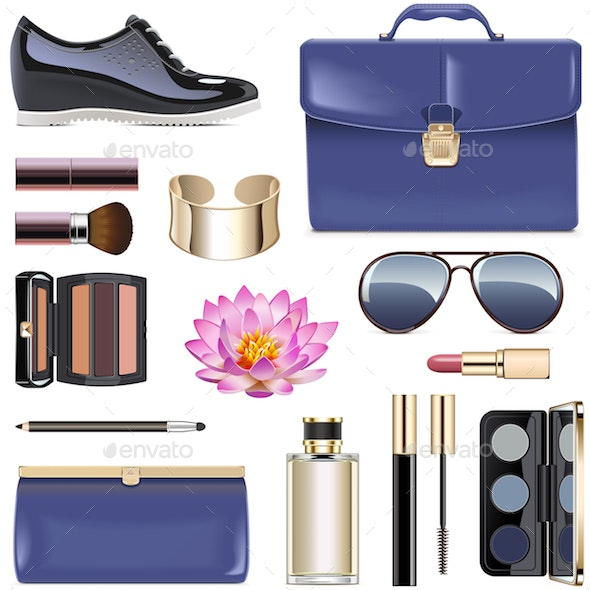 Vector Dark Blue Female Accessories - Commercial / Shopping Conceptual