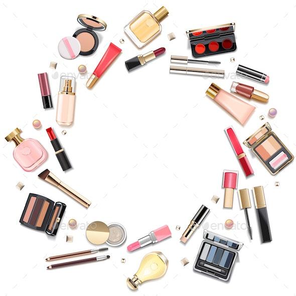Vector Round Makeup Cosmetics Concept - Commercial / Shopping Conceptual