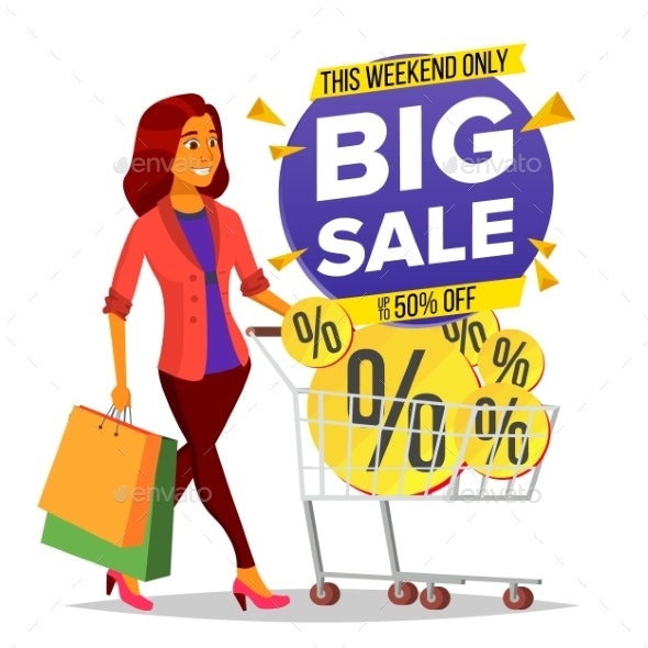 Shopping Woman Vector. Grocery Cart. Big Sale - Business Conceptual