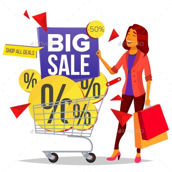 Shopping Woman Vector. Grocery Cart. Purchasing - Business Conceptual