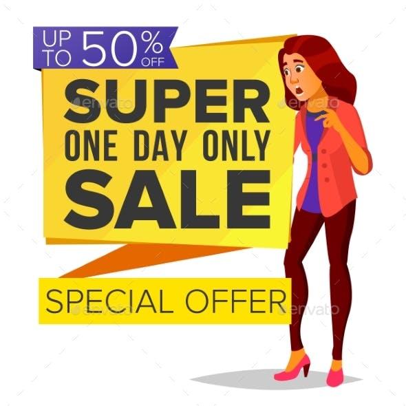 Shopping Woman Vector. Big Discount. Super Sale