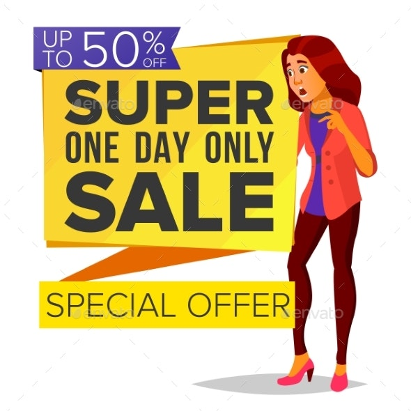 Shopping Woman Vector. Big Discount. Super Sale - Business Conceptual