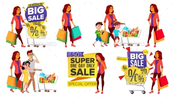Shopping Woman Set Vector. People In Mall. Family - Business Conceptual