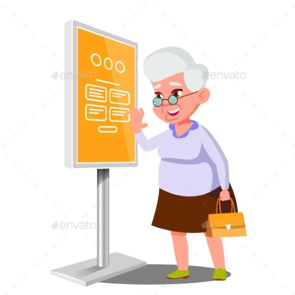 Old Woman Using ATM, Digital Terminal Vector - Technology Conceptual