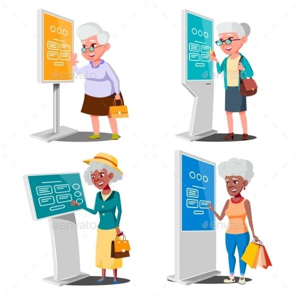 Old Woman Using ATM, Digital Terminal Vector. Set - Technology Conceptual