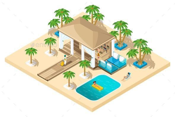 Isometric Girl in Luxurious Rest - Buildings Objects