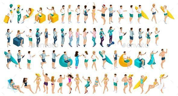 Isometrics is a Large set of Teenagers in Summer Clothes and Bathing Suits, the Men's - Business Conceptual