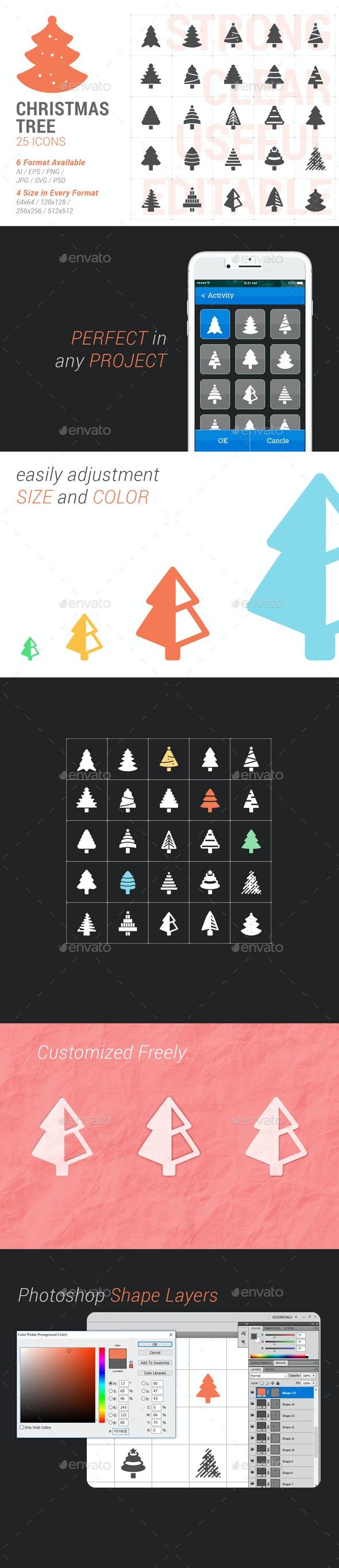Christmas Tree Filled Icon - Seasonal Icons