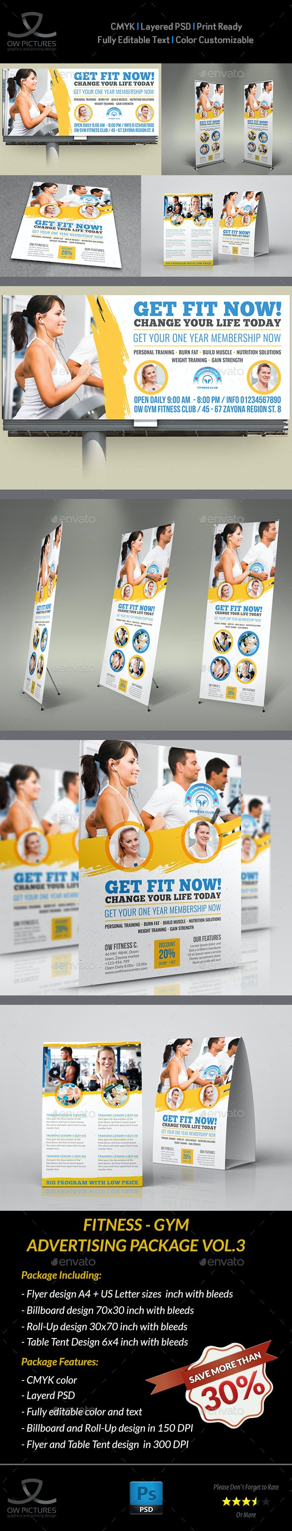 Fitness - GYM Advertising Bundle Vol.3 - Signage Print Templates