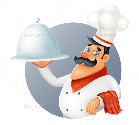 Restaurant Chef Cook Serving Food Cartoon - Food Objects