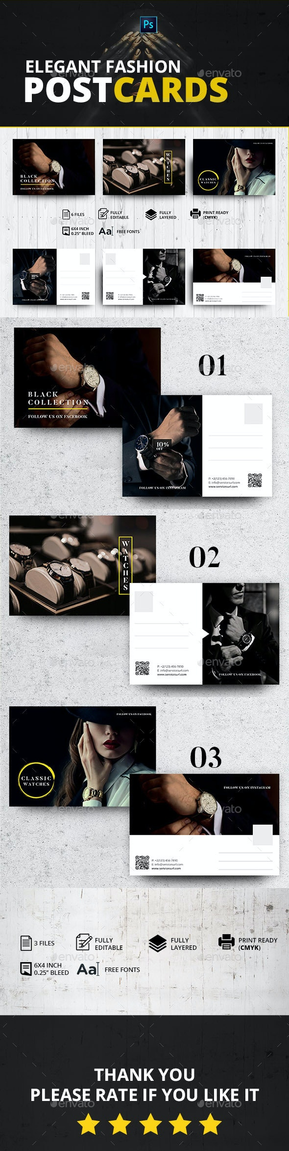 Elegant Fashion Postcards - Cards & Invites Print Templates