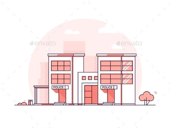 Police Station - Modern Thin Line Design Style - Buildings Objects