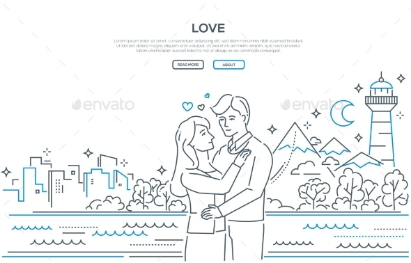 Love - Modern Thin Line Design Style Banner - People Characters