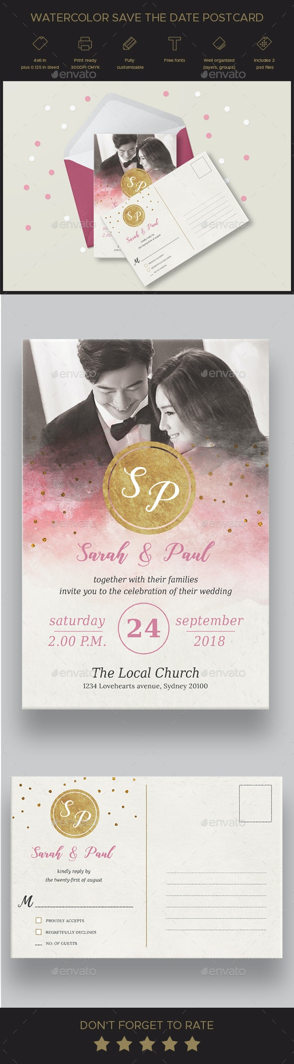 Watercolor Save the Date Postcard - Weddings Cards & Invites