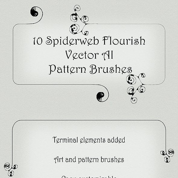 10 Spiderweb Fancy Flourish Pattern Brushes - Twirl Vector AI Tool