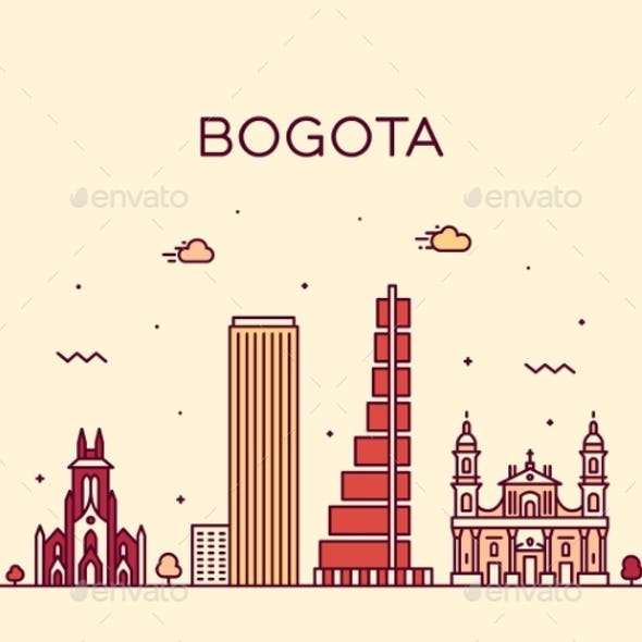Bogota Skyline Colombia Trendy Vector Linear City