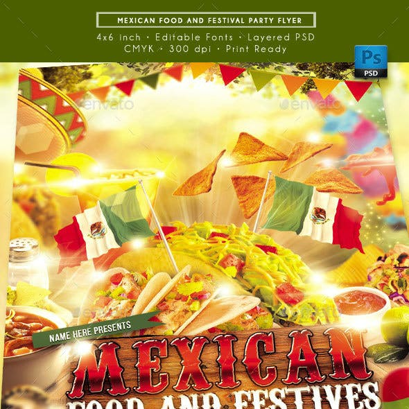 Mexican Food and Festival Flyer
