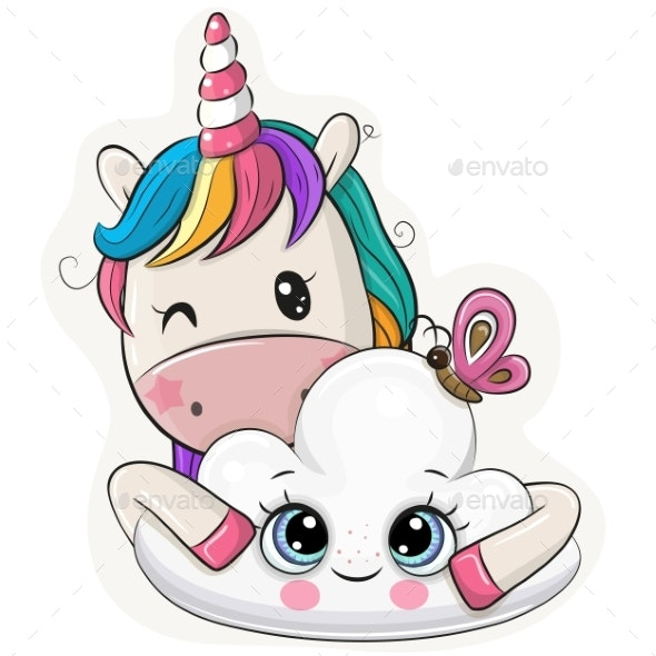 Cartoon Unicorn with Cloud on a White Background - Miscellaneous Vectors