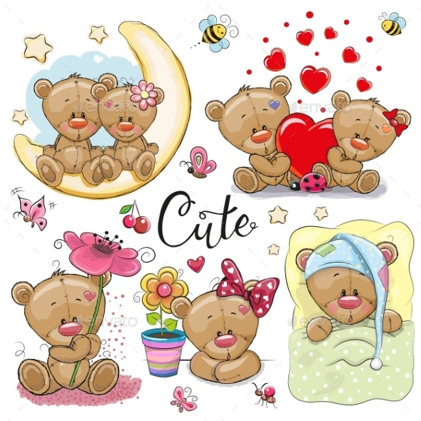 Set of Cartoon Teddy Bears on a White Background - Miscellaneous Vectors