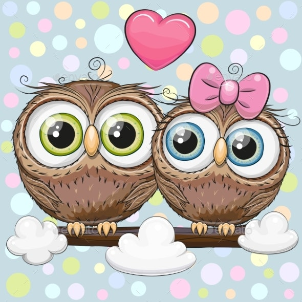 Greeting Card with Two Cartoon Owls - Animals Characters