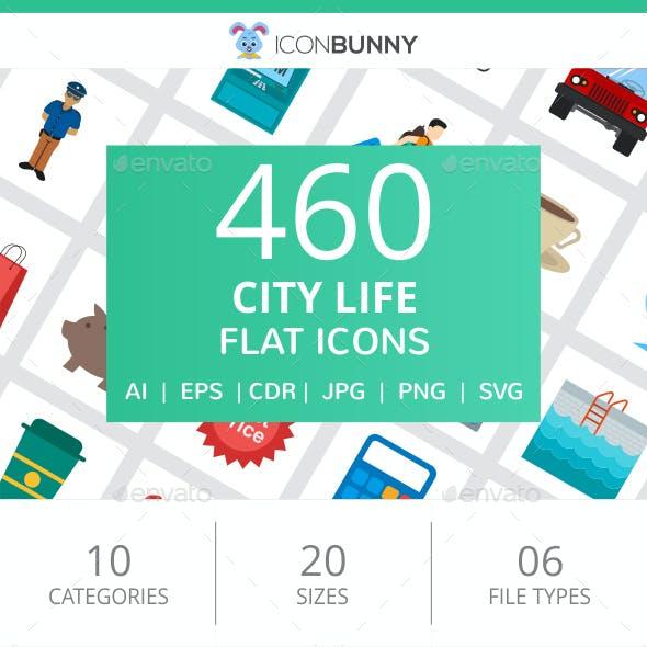 460 City Life Flat Icons