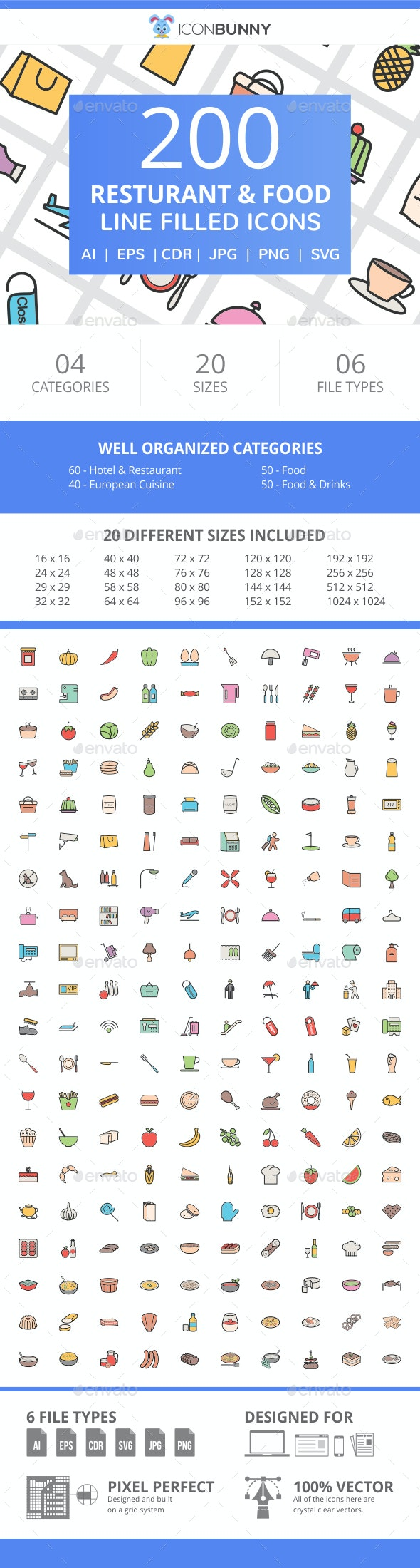 200 Restaurant & Food Filled Line Icons - Icons