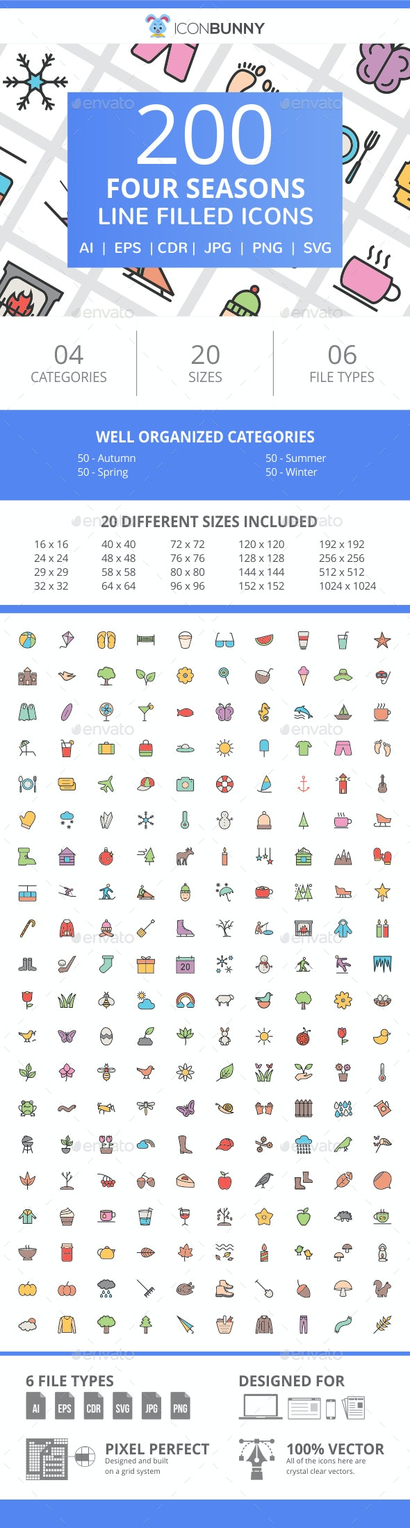 200 Four Seasons Filled Line Icons - Icons