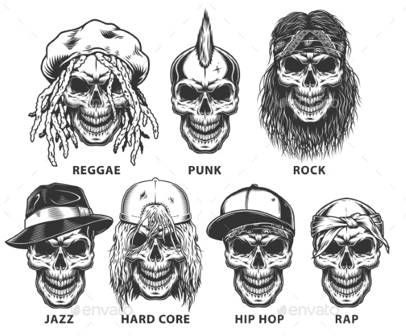 Set of Subculture Skulls - People Characters