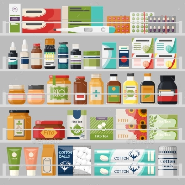 Showcase with Shelves at Drugstore with Pills - Health/Medicine Conceptual