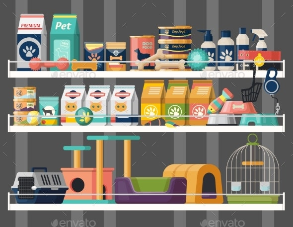 Pet Shop or Store Showcase with Animal Food - Animals Characters