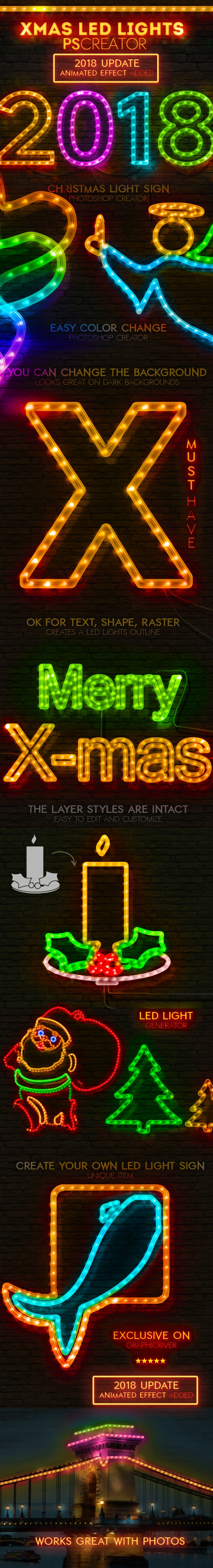Christmas LED Light Rope Photoshop Action - Utilities Actions