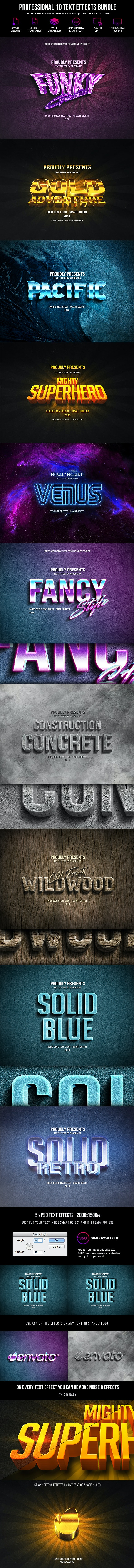Professional 10 Text Effects Bundle - Text Effects Actions