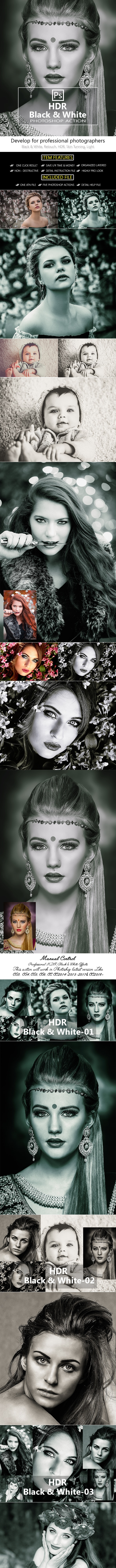 5 HDR Black & White Photoshop Action - Photo Effects Actions