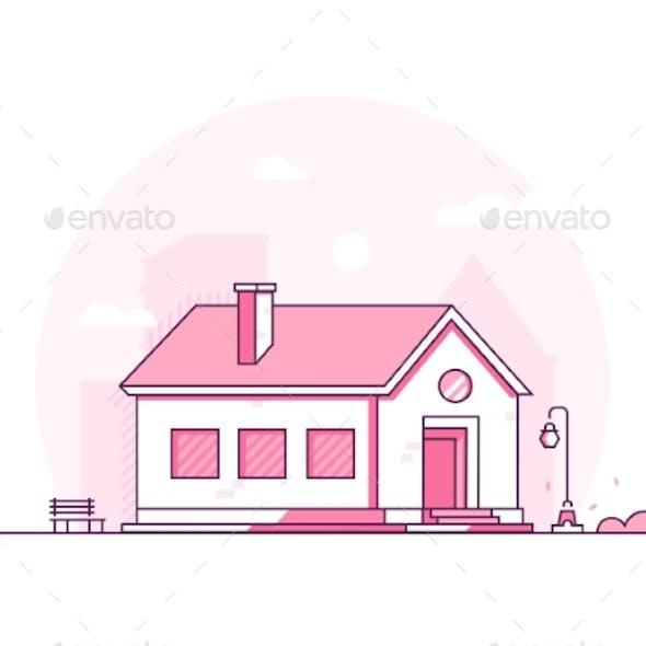 Modern House Thin Line Design Style Vector