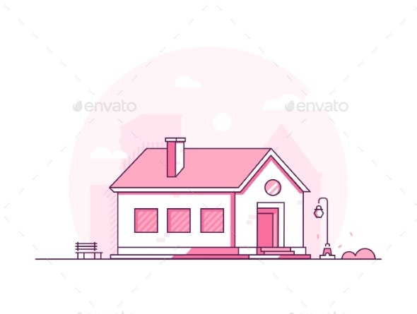 Modern House Thin Line Design Style Vector - Buildings Objects