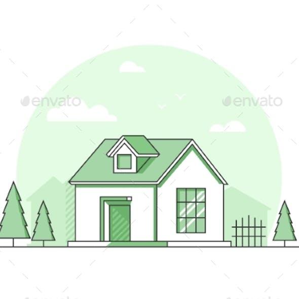 Farm House - Modern Thin Line Design Style Vector