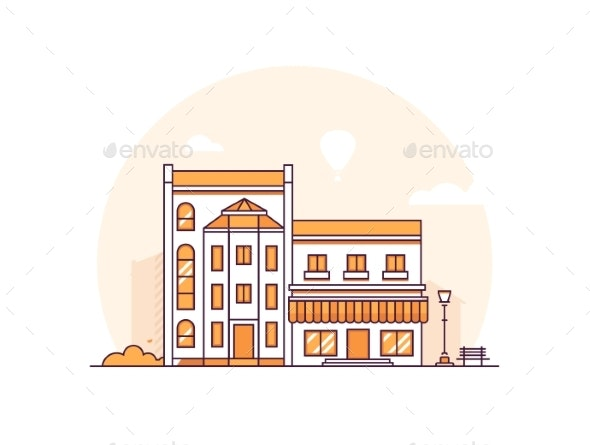 City Buildings - Modern Thin Line Design Style - Buildings Objects
