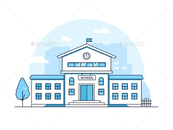School Building - Modern Thin Line Design Style - Buildings Objects