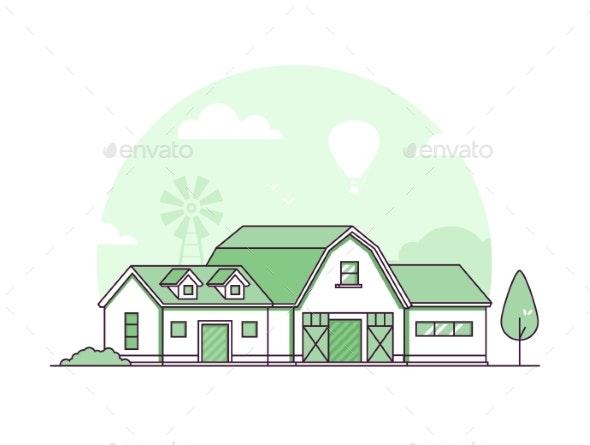 Farm - Modern Thin Line Design Style Vector - Buildings Objects