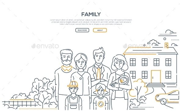 Family - Line Design Style Banner with Place - People Characters