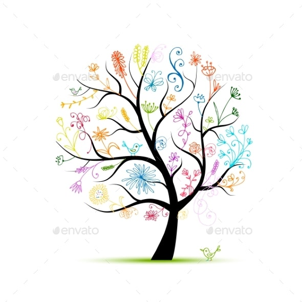 Floral Tree for Your Design - Flowers & Plants Nature