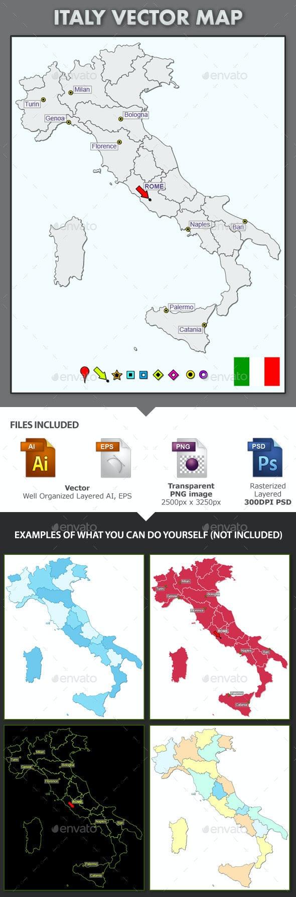 Italy Layered Map - Web Elements Vectors