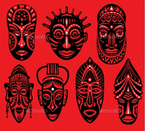Set of Tribal African Masks on Red Background - Miscellaneous Vectors
