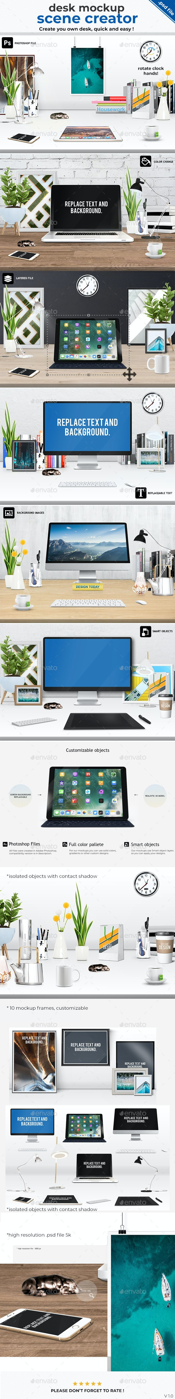 Scene Creator Office Desk Mock-Up - Hero Images Graphics