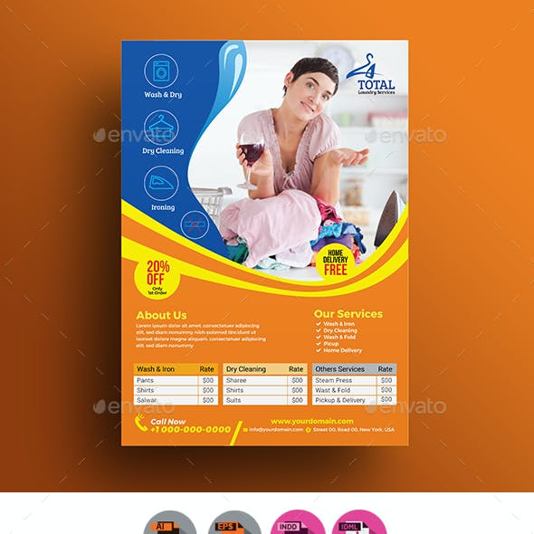 Laundry Services Flyer Template