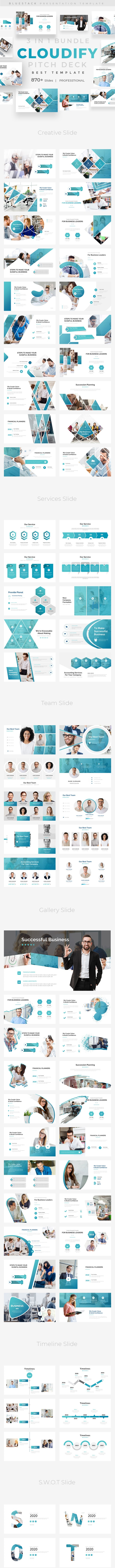 Cloudify Pitch Deck 3 in 1 Bundle Powerpoint Template - Business PowerPoint Templates