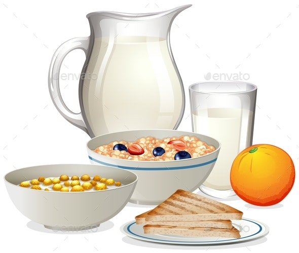 A Healthy Breakfast On White Background - Food Objects
