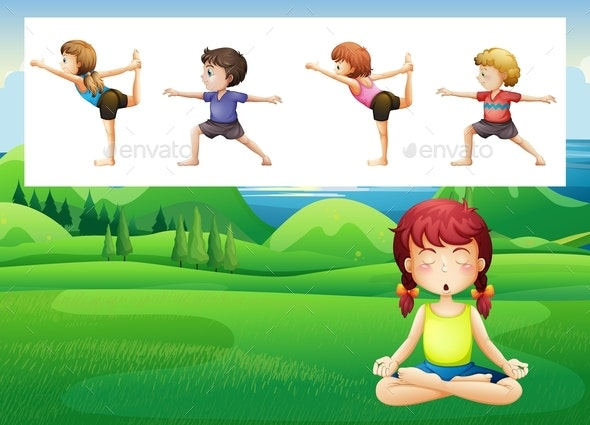 People Doing Yoga in The Park - People Characters