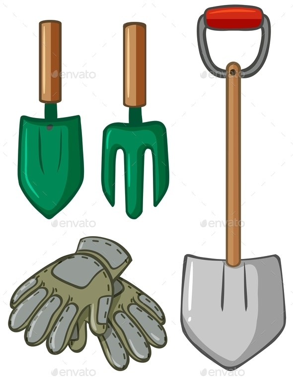 Gardening Tools With Gloves - Man-made Objects Objects